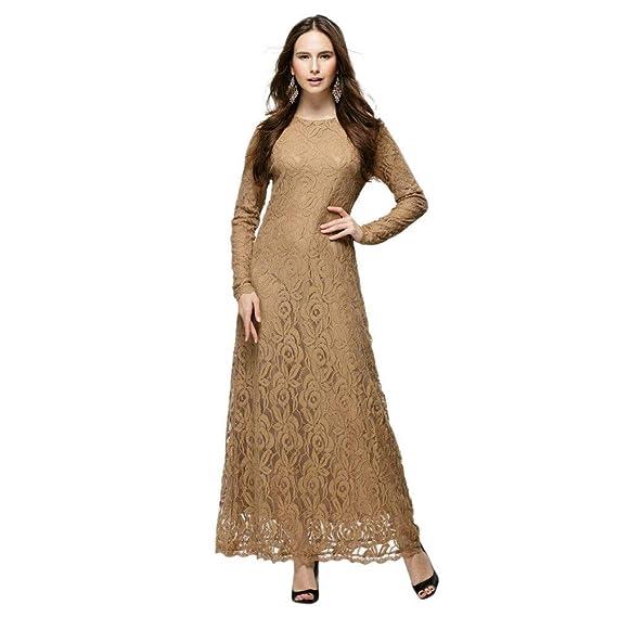 Meijunter Vestido de Mujer Musulmana - Encaje Suelta ...