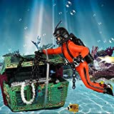 Bestgle Creative Aquarium Ornament Treasure Seeker Hunter Diver Action Figure Decoration for Fish Tank