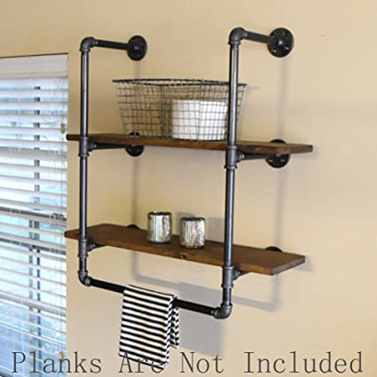FOF Industrial Retro Wall Mount Iron Pipe Shelf,Bathroom Wall Unit,2 Tier  Pipe