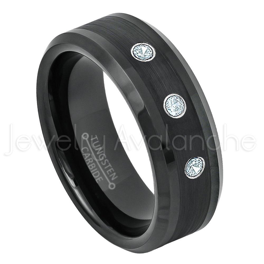 0.21ctw Aquamarine 3-Stone Ring 8mm Black Tungsten Ring March Birthstone Ring Comfort Fit Tungsten Wedding Band