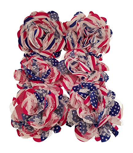 Chiffon Fabric Flowers - Red White and Blue - Patriotic 4th of July Lace Flowers for Headbands, Decorations, or Crafts (Pack of 6) ()