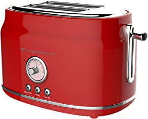 Frigidaire ETO102-RED Retro Wide 2-Slice Toaster Perfect for Bread, English Muffins, Bagels, 5 Browning Levels, 900w, RED