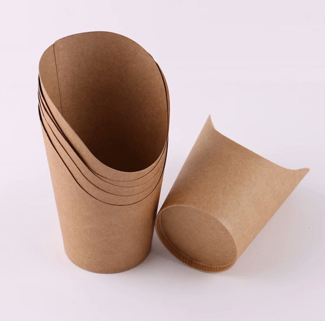 Cindy&Will 50Pcs Disposal Take-out Party Frozen Dessert Supplies Baking Cakes Egg Puff Waffle French Fries Chips Ice Cream Snacks Kraft Paper Cups Holder, 14oz (Brown)