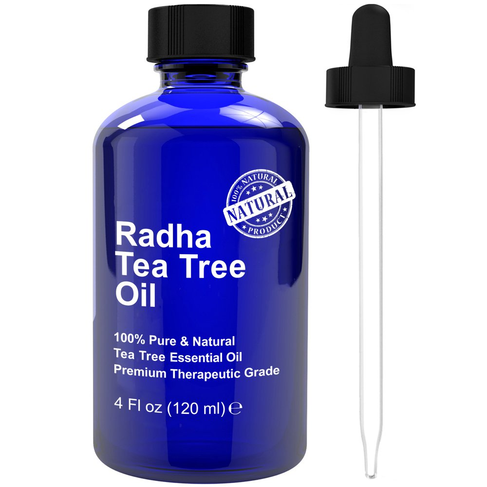 Radha Beauty Tea Tree Essential Oil 4 oz. - 100% Pure & Natural Premium Melaleuca Therapeutic Grade - Great with Soaps, Shampoo, Body Wash, Aromatherapy - Antifungal Treatment for Acne, Lice, & Nails by Radha Beauty
