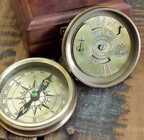 Navy Naval Brass - Perpetual Brass Calendar Compass with Box