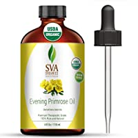 Evening Primrose Oil 4 oz(118 ml) 100% Pure Therapeutic Grade by SVA ORGANICS - for Wrinkle-Free Skin, Face and Hair and rejuvenate