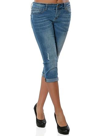 0ad27f4494b3 Daleus Damen High-Waist Jeans Kurze Sommerhose DA 15906