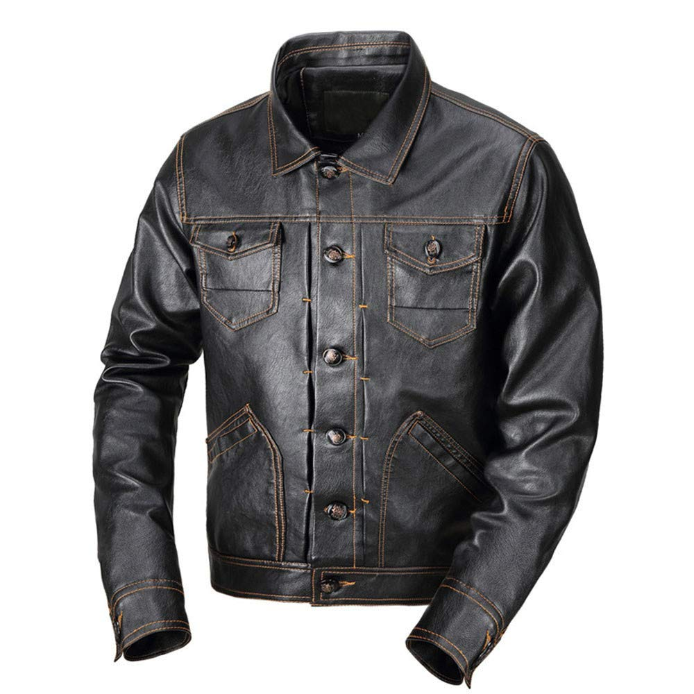 Men Winter Coat Sale Fashion Warm Pocket Button Turndown Thermal Leather Jacket Black