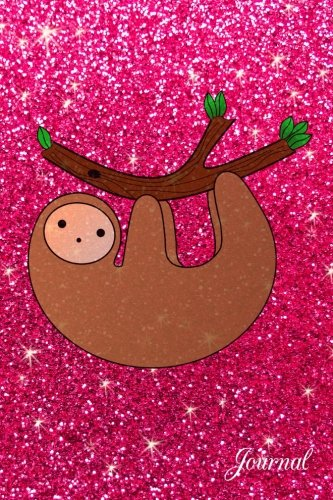Journal: Faux Pink Glitter Sloth Notebook -