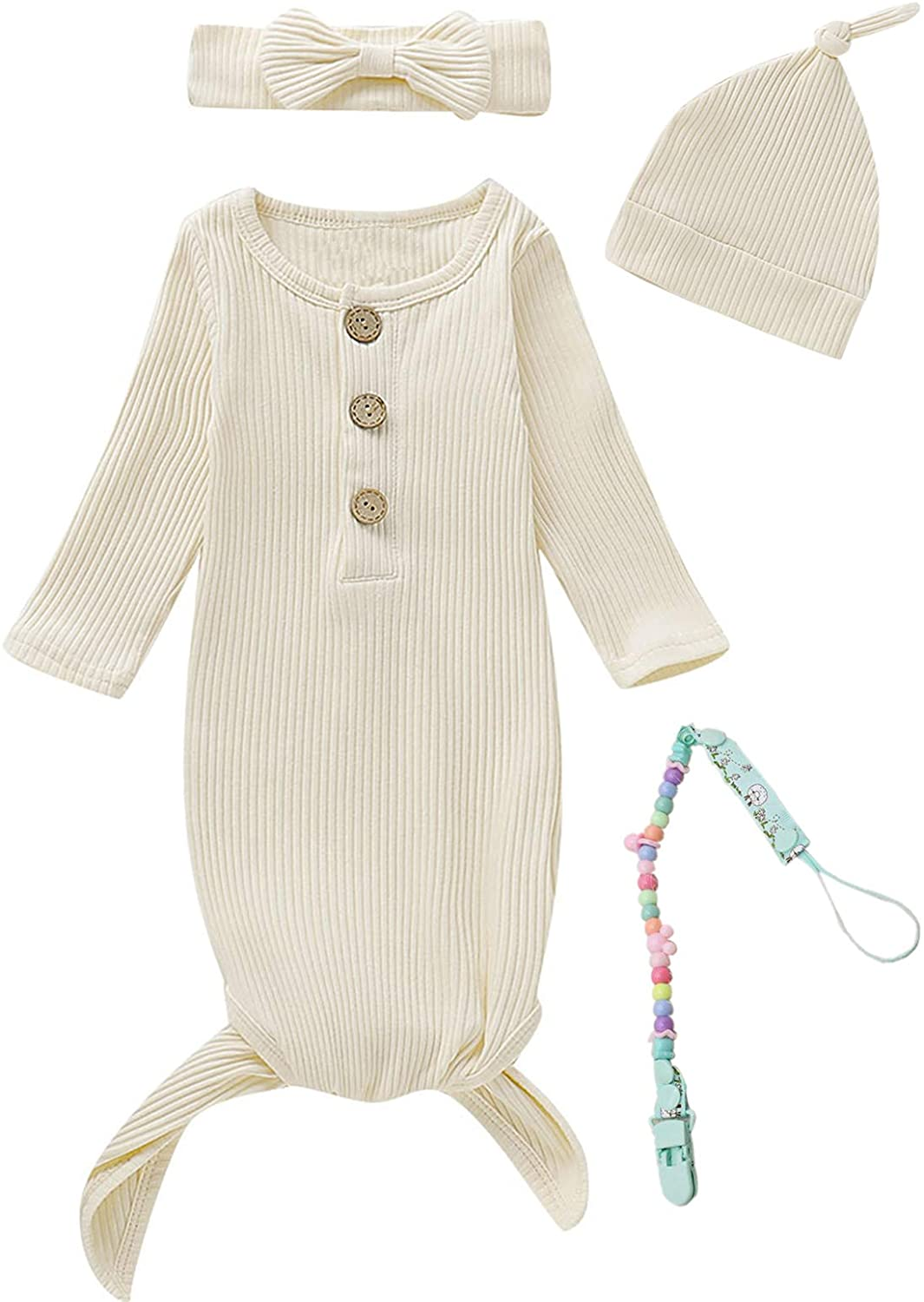 MoryGooder Newborn Cotton Nightgowns Neutral Baby Knotted Sleeper Baby Coming Home Outfit with Pacifier Clip