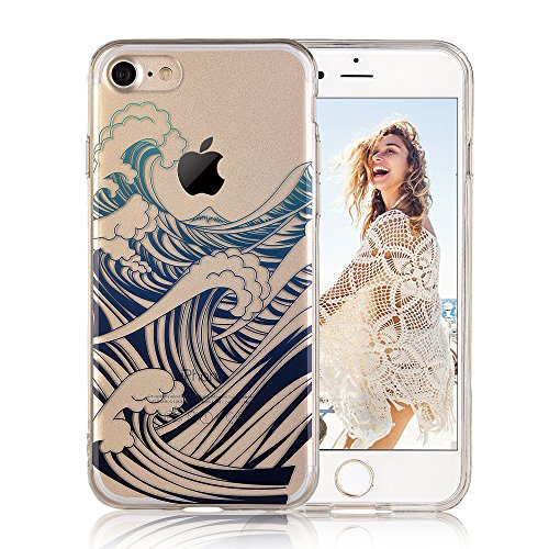 COSANO iPhone 7 case,for iPhone 8 case blue sea wave nature [Hard PC Back + Soft TPU Bumper]Crystal Clear design[Ultra thin] for iPhone 7/8 (4.7