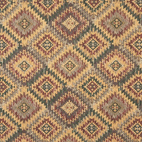 - J767 Southwest Diamond Chenille Upholstery Fabric | Gold Green Grey and Burgundy Chenille Upholstery Fabric by The Yard