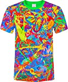 Elephant Pegion Splash Paint Island Tree Horse TIme Watch Fantasy Blacklight UV Neon Fluorescent T-Shirt, Size Medium