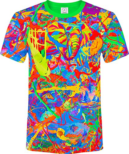 Elephant Pegion Splash Paint Island Tree Horse TIme Watch Fantasy Blacklight UV Neon Fluorescent T-Shirt, Size X Large ()