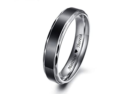 af2c6aabc3 Image Unavailable. Image not available for. Color: Personalized Men's Black  Band Scalloped Edge Stainless Steel Promise Ring ...