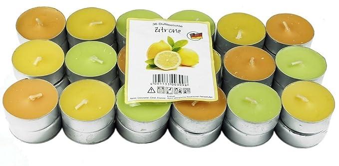 36 Nordlicht - Zitronella Duftlichte Teelichter, farbig gemischt, Aromatischer Zitronen Duft, Anti Mücken Kerzen, Duftkerzen,