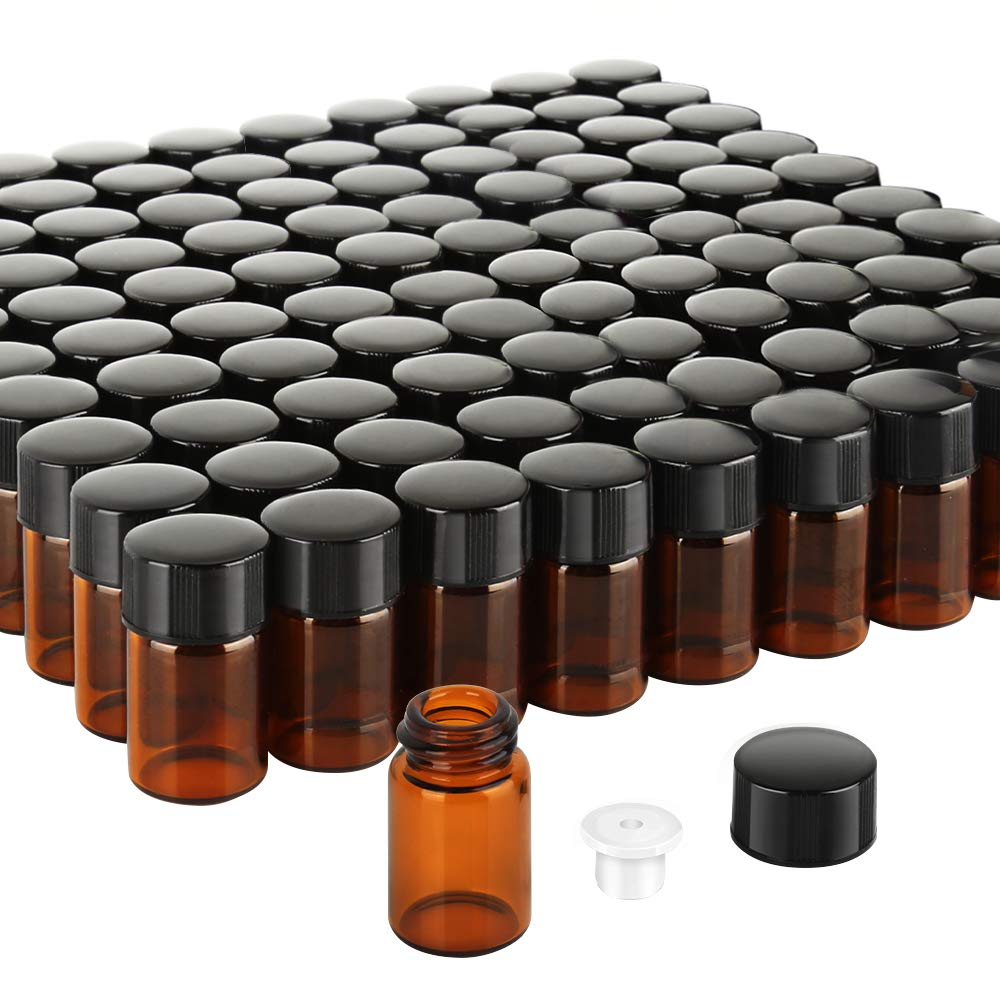 Teenitor 100 Packs 2 ML (5/8 Dram) Essential Oil Bottles, Small Sample Amber Glass Jars With Orifice Reducers And Black Caps For Oil Blends, Perfumes, Lab Chemicals