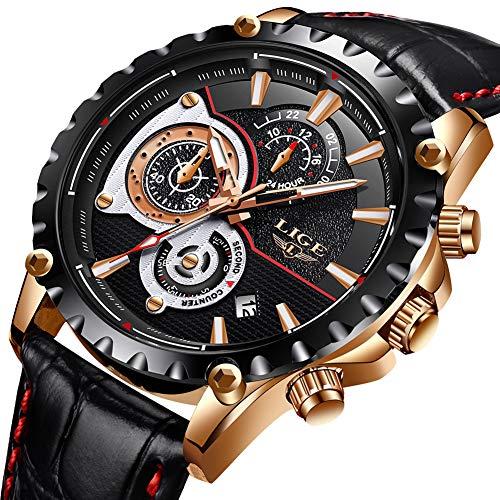 Mens Watches Top Brand Luxury LIGE Waterproof Analog Quartz Watch Men Chronograph Sport Wristwatch Man Black Leather Business Clock