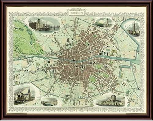 MAP OF DUBLIN 1851 BY JOHN TALLIS
