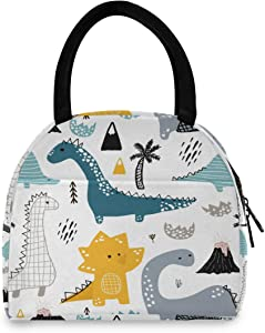 OREZI Dinosaur Lunch Bag, Reusable Cute Lunch Box Insulated Kids Cooler Tote Bag Multi-functional School Lunch Container for Teen Boys Girls (White) (multi 1)