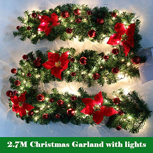 bullstar 9 feet christmas decorations christmas garland with lights artificial wreath with berries and pinecones xmas