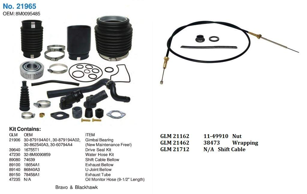 GLM Transom Repair Kit w/Gimbal Brg+Shift Cable for Bravo Mercruiser  30-803100T1 (Transom Repair w/Cable)