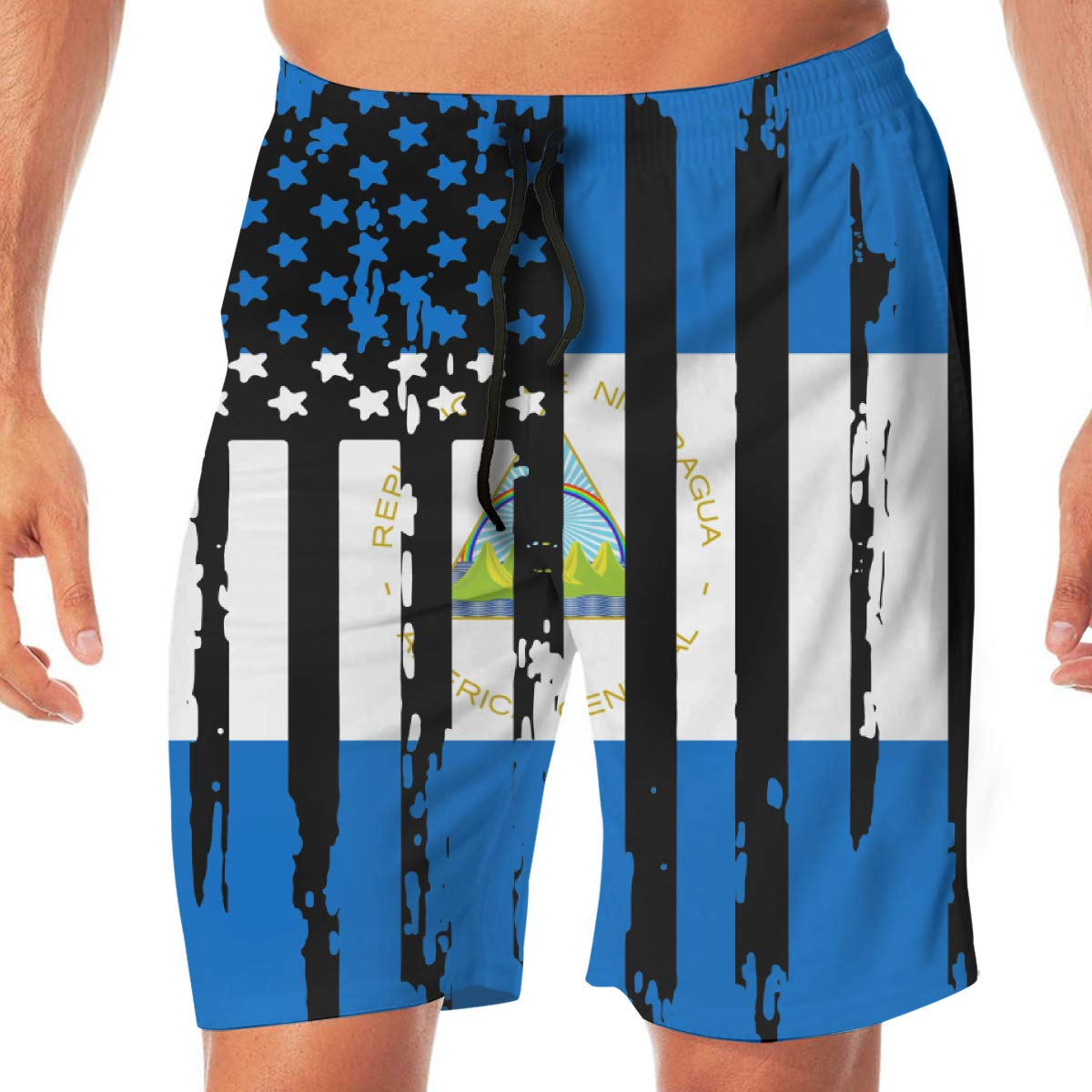 Mens Abstract American Nicaragua Flag Boardshorts Beach Shorts No Mesh Lining