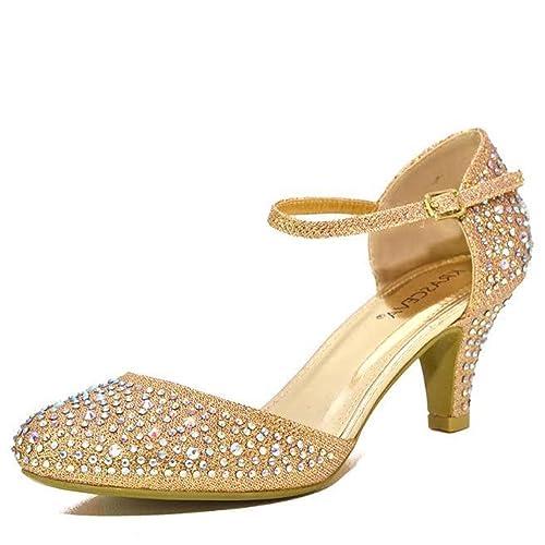 Chic Feet, zapatos de tacón bajo con brillantes, para bodas o fiestas, con brillo plateado o dorado, color Dorado, talla 40 EU: Amazon.es: Zapatos y ...