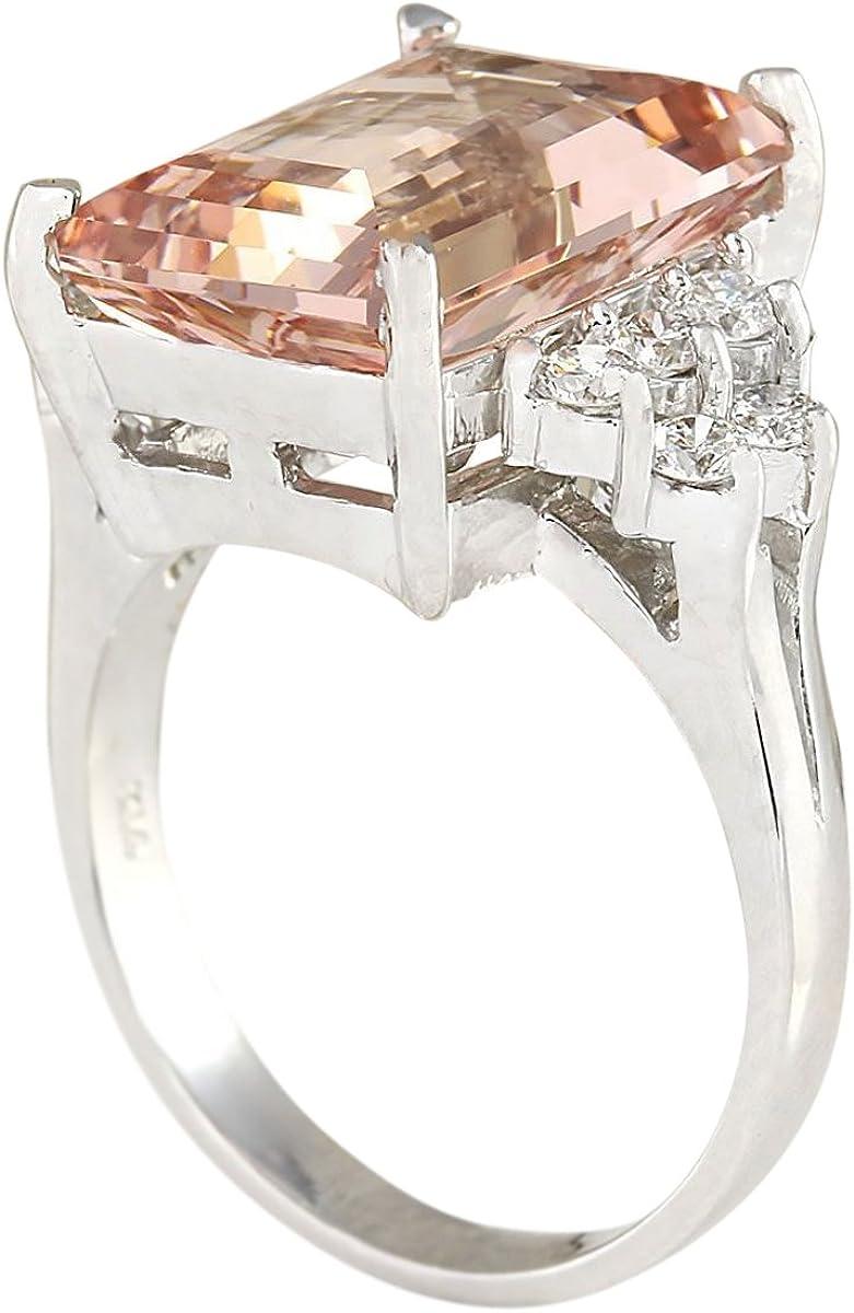 7.25 Carat Natural Pink Morganite and Diamond 14K White Gold Cocktail Ring for Women