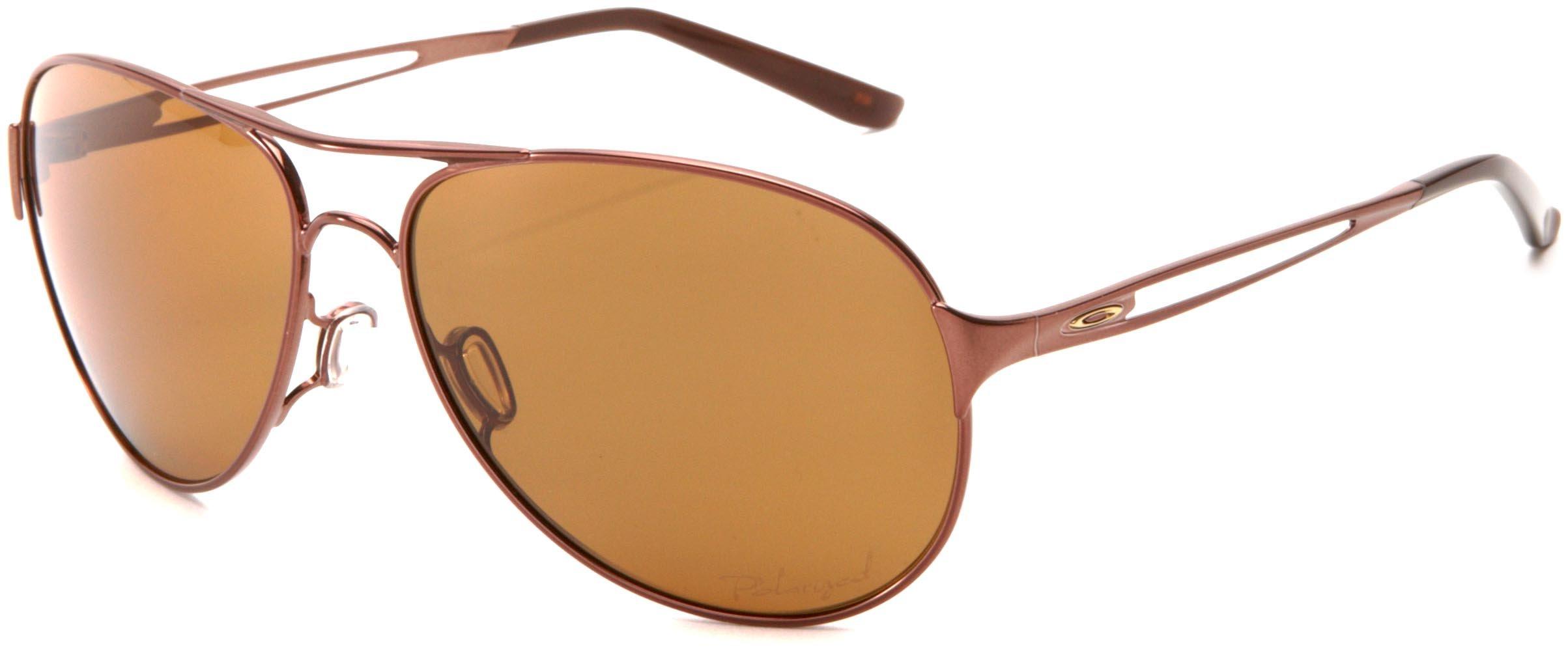 Oakley Women's OO4054 Caveat Aviator Metal Sunglasses, Brunette/Bronze Polarized, 60 mm by Oakley