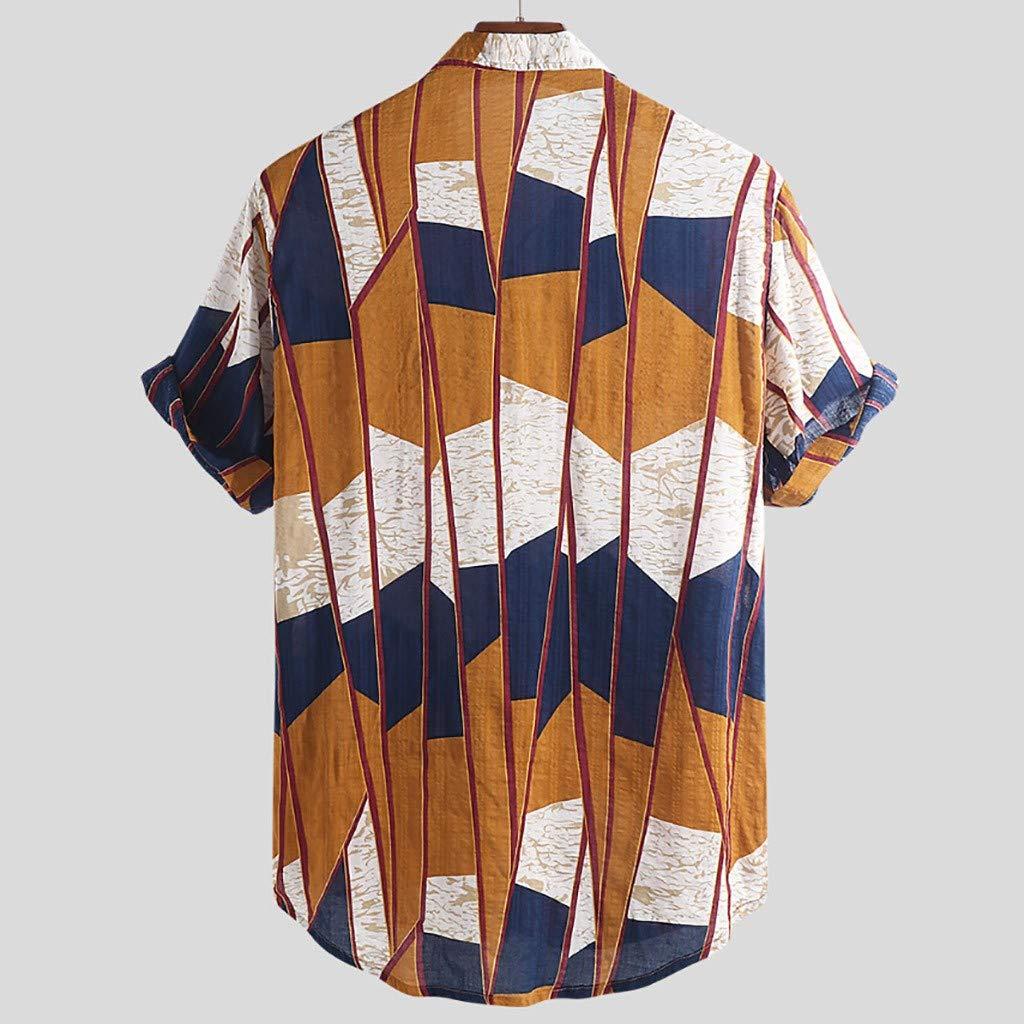 ZQISHMAO Mens Button Down Dress Shirts Fashion Floral Printed Short Sleeve Lapel Collar Henley Shirts Beach Tees