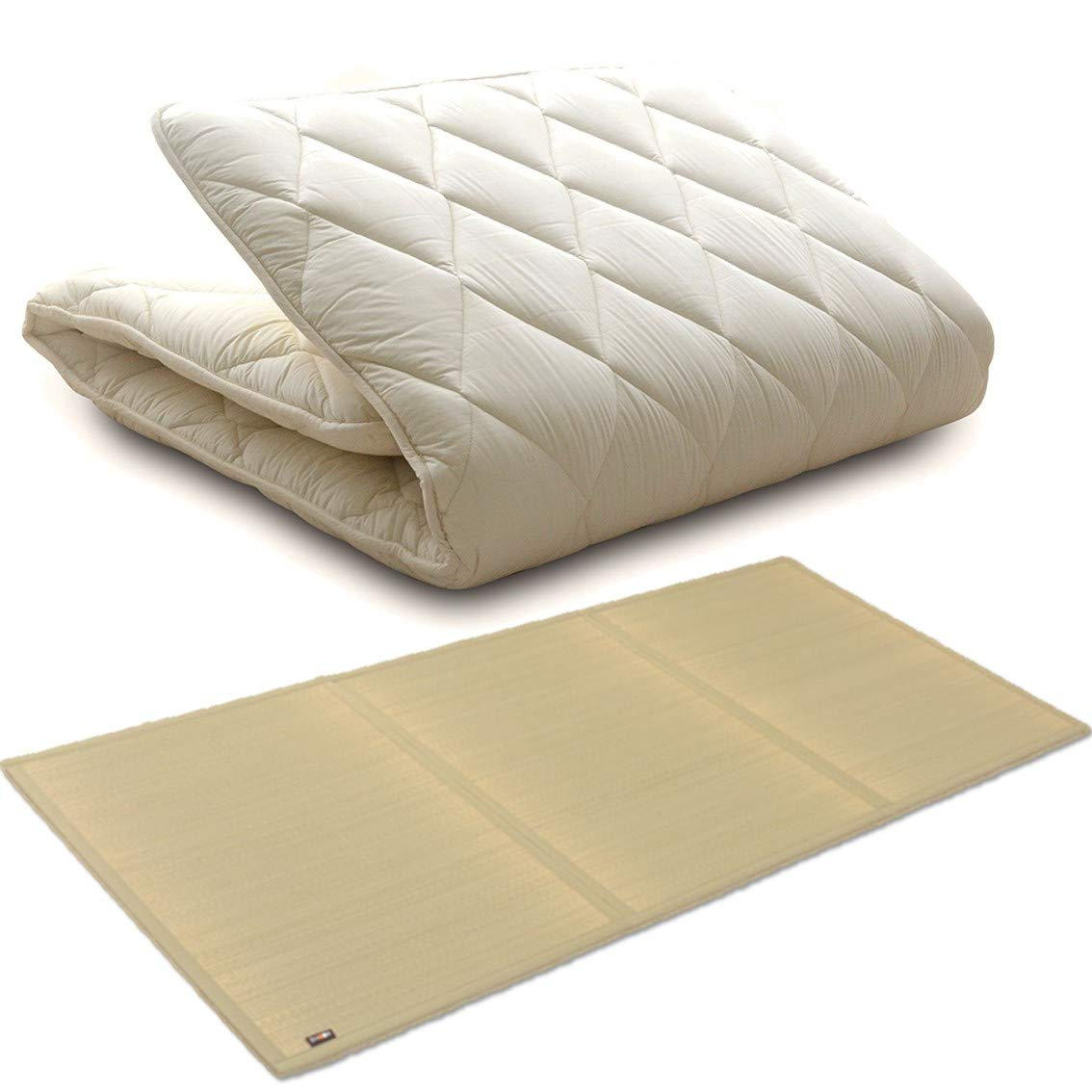 EMOOR Japanese Futon Mattress CLASSE with Igusa (Rush Grass) Tatami Mattress, Full Size (55 x 79). Made in Japan by EMOOR
