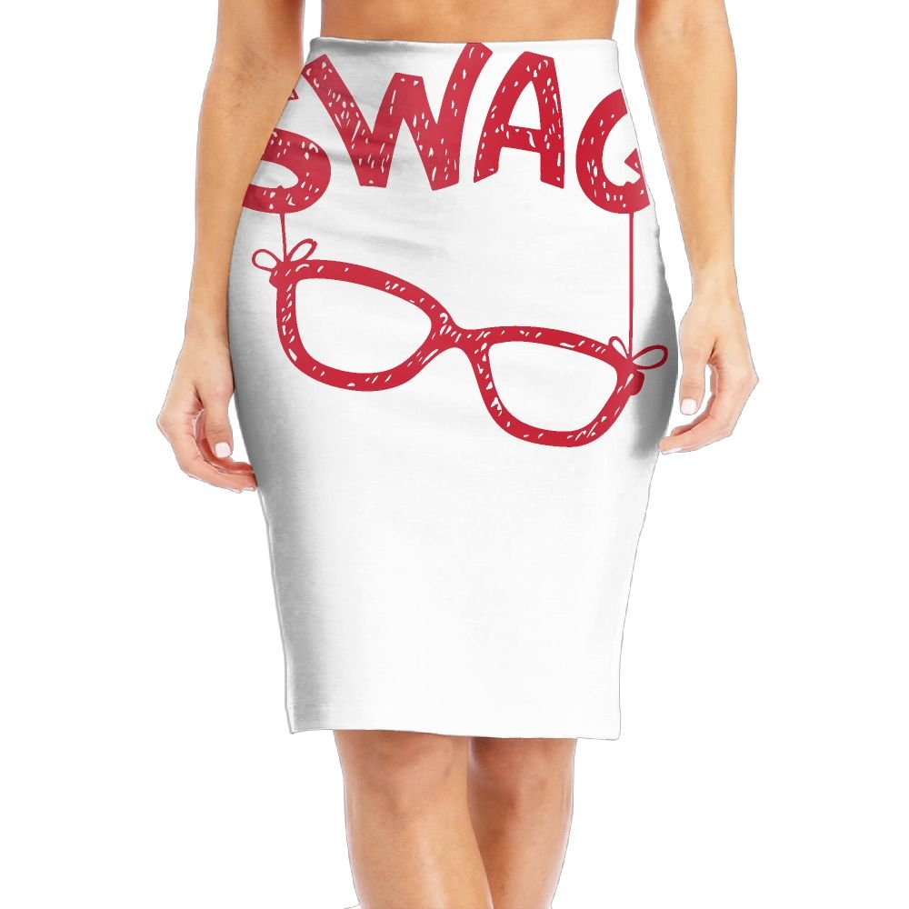 WOAIDY SWAG Glasses Funny Photo Women's Fashion Printed Pencil Skirt