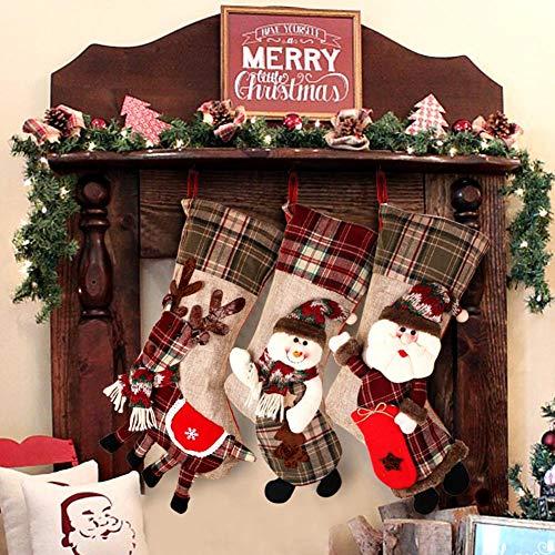 OurWarm 18 Inch Large Christmas Stockings 3 PCS Set, 3D Classic Santa Plaid Christmas Stocking (Santa, Snowman, Reindeer Pattern)