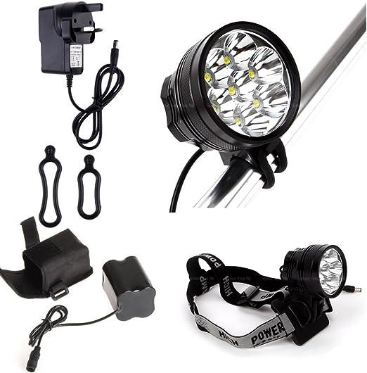 7 x Cree XML T6 LED 9800 lm focos frontales para bicicleta de montaña de luces para bicicleta luces de 6 x 18650: Amazon.es: Jardín