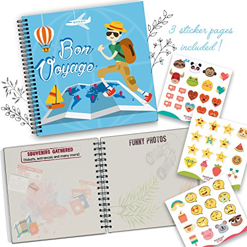 5 Second Hardcover Travel Journal Bon Voyage Edition to Remember and Record All Your Memories and Photos in a Fun and Unique Way Your Trip with This Memory Book and Photo Album - Comes with Stickers]()