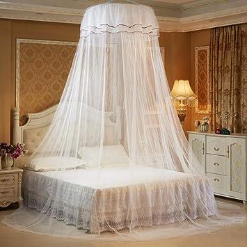 Respirant Cercle rond de princesse moustiquaire en dentelle d/ôme D/écoration de chambre /à coucher Installation gratuite Moustiquaire ronde de plafond rose Tente de lit