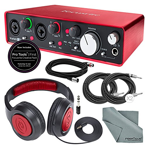 Focusrite Scarlett 2i4 USB Audio Interface W/ Deluxe Accessory Bundle with XLR Cable + 2 Cables + Samson Headphone + FiberTique Cleaning Cloth by Focusrite
