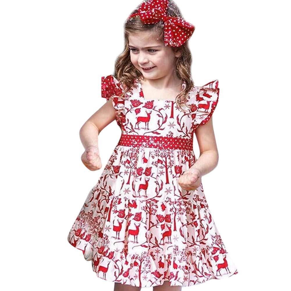 Toddler Baby Girl Deer Ruffles Gauze Bandage Christmas XMAS Clothing Print Dress Children Long Sleeves Christmas Elk Princess Dress Headband Suit For Children Toddler Baby Girl Kid (White, 6-12M)