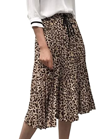 size 7 top-rated official official sale Simplee Women's Vintage Leopard Print Pleated Skirts Floral ...