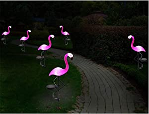 6 Pack Garden Solar Flamingo Lights Outdoor, LED Color Changing Stake Lights, Solar Powered Optic Fiber Decorative Lighting, Yard Art, Garden Decorations, Housewarming Gifts.