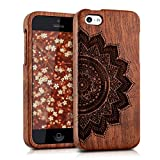 kwmobile Natural wood case with Design half-flower for the Apple iPhone 5C in rosewood dark brown