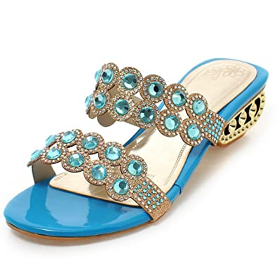 45da8db211f SaraIris Women s Chunky Metal Hollow Mid Heel Slingback Summer Shoes Peep  Toe Rhinestone Casual Sandals Blue