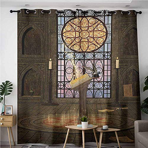 VIVIDX Home Curtains,Gothic Lectern on Pentagram Symbol Medieval Architecture Candlelight in Dark Altar,Great for Living Rooms & Bedrooms,W120x96L,Olive Green Mustard
