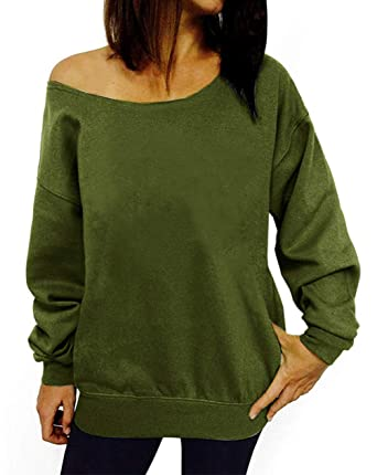 29fa24b0697c6 lymanchi Women Off The Shoulder Sexy Sweatshirt Pullover Long Sleeve Baggy  Shirt 107 Army Green S