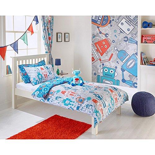 Riva Home Robot Childrens/Kids Duvet Set (Twin) (Blue) (Robot Duvet Cover Twin)