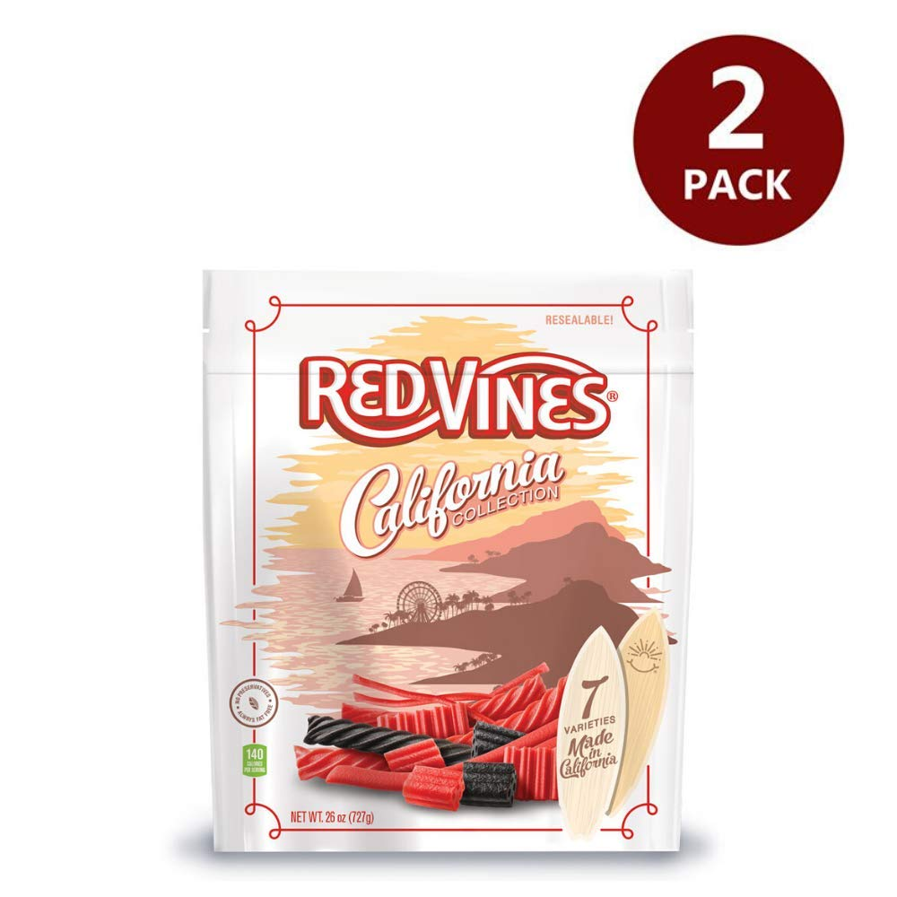 Red Vines Red & Black Licorice Assortment, 26 oz Bag, California Collection, Soft & Chewy Candy - Pack of 2 by Red Vines