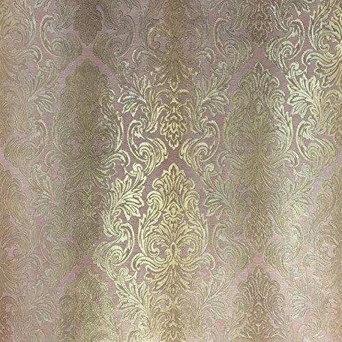 QUADRUPLE ROLL 113.52sq.ft (4 single rolls size) Slavyanski wallcovering washable victorian pattern Vinyl Non-Woven Wallpaper rose gold pink orange textured stripe paste wall glitters metallic damask (Damask Wallpaper Pink)