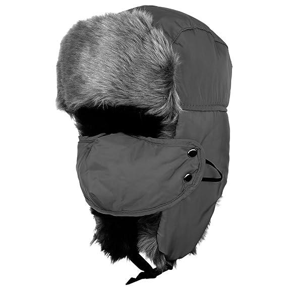 Uomo Warm Faux Pelliccia Sci Snow Snowboard Cappello invernale Cap Neck Ear  Face Warmer Grigio  Amazon.it  Abbigliamento dcbb222a697e