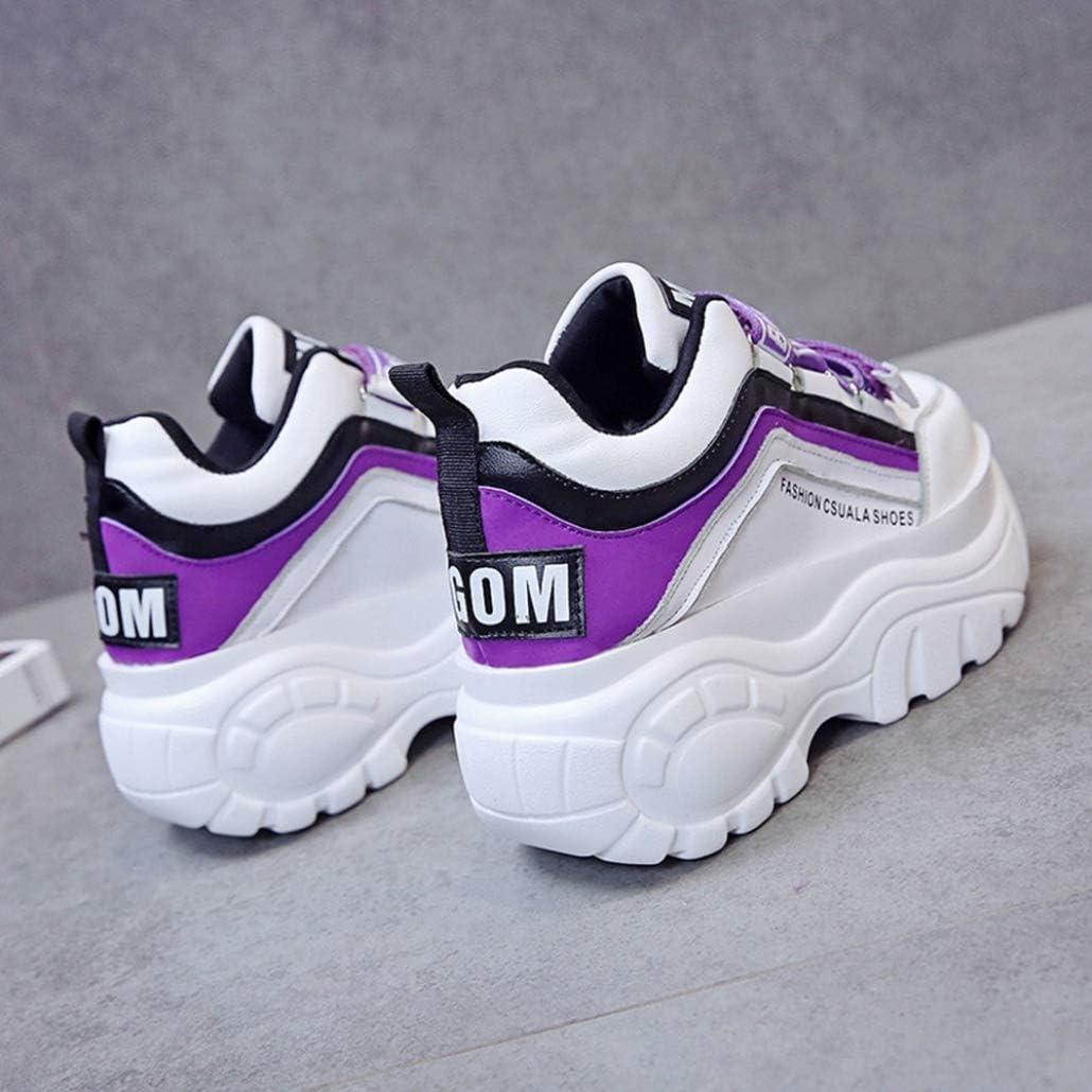 Shouda Baskets Chunky pour Femmes Mode Plate-Forme de Couleur Mixte Chaussures compensées Bout Rond Respirant décontracté augmenté Formateurs internes Violet